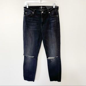 7 For All Mankind high rise skinny ankle jeans